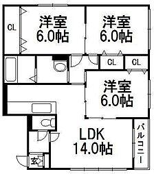 北海道札幌市手稲区富丘三条3丁目の賃貸マンションの間取り