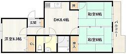 広島県広島市西区井口3丁目の賃貸マンションの間取り