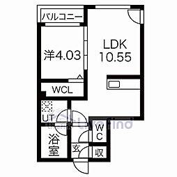 札幌市営東西線 菊水駅 徒歩7分の賃貸マンション 4階1LDKの間取り