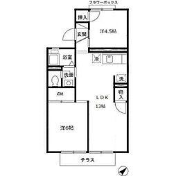 大阪府堺市中区土師町1丁の賃貸アパートの間取り