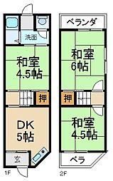 [テラスハウス] 大阪府枚方市出口2丁目 の賃貸【/】の間取り