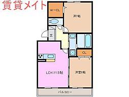 メルベーユMII[1階]の間取り