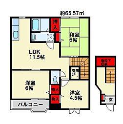 福岡県中間市東中間2丁目の賃貸アパートの間取り