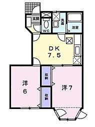 ドリームハウスA・B[A-102 号室号室]の間取り