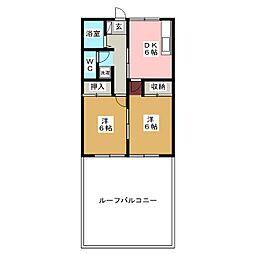 ファミーユ中野[2階]の間取り