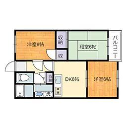 静岡県静岡市駿河区有東2丁目の賃貸マンションの間取り