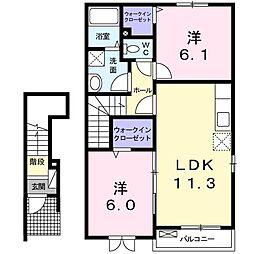 千葉県大網白里市ながた野2丁目の賃貸アパートの間取り