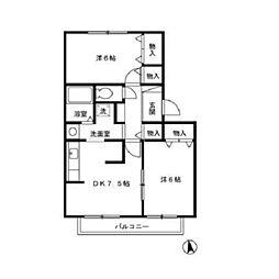 JR京浜東北・根岸線 港南台駅 徒歩13分の賃貸アパート 2階2DKの間取り