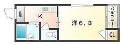 平代ハイツ[4階]の間取り