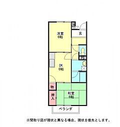 愛知県小牧市大字三ツ渕原新田の賃貸アパートの間取り