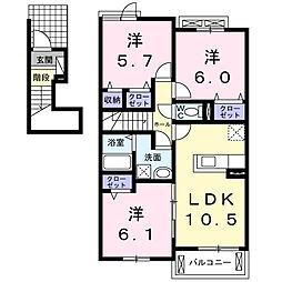 静岡県浜松市南区白羽町の賃貸アパートの間取り