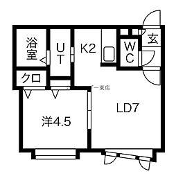 CIARO(シアロ) 2階1LDKの間取り
