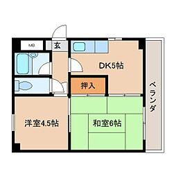 奈良県奈良市東木辻町の賃貸マンションの間取り