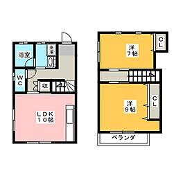 [テラスハウス] 愛知県稲沢市下津下町西2丁目 の賃貸【愛知県 / 稲沢市】の間取り