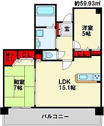 エイルマンション香春口ロゼア[4階]の間取り
