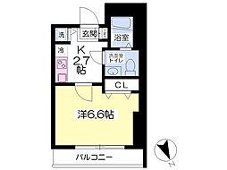 rooms 2階1Kの間取り