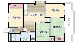 愛知県名古屋市名東区貴船3丁目の賃貸アパートの間取り