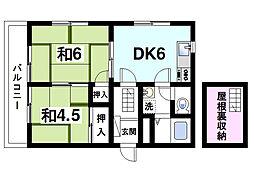 サンライズ西ノ京II[2階]の間取り