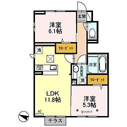 埼玉県ふじみ野市鶴ケ舞3丁目の賃貸アパートの間取り