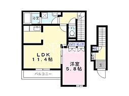 南海高野線 萩原天神駅 徒歩3分の賃貸マンション 2階1Kの間取り
