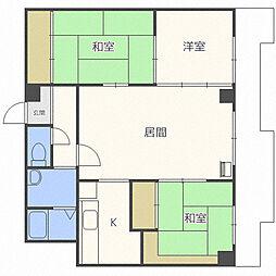 北海道札幌市東区北二十条東19丁目の賃貸マンションの間取り