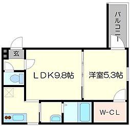 フジパレス東三国III番館 2階1LDKの間取り