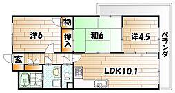 福岡県北九州市小倉北区日明1丁目の賃貸マンションの間取り