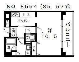 メゾンルージュ空堀[2階]の間取り