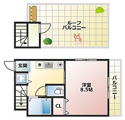 大阪府大阪市平野区西脇1丁目の賃貸アパートの間取り
