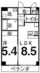 香川県高松市観光通2丁目の賃貸マンションの間取り
