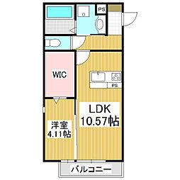 コンフォーティア飯田A棟 1階1LDKの間取り
