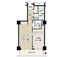 代官山アドレスザタワー 14階1LDKの間取り