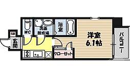 エスリード京橋桜ノ宮公園 7階1Kの間取り