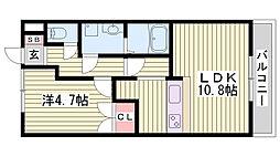 JR東海道・山陽本線 大久保駅 徒歩29分の賃貸アパート 2階1LDKの間取り