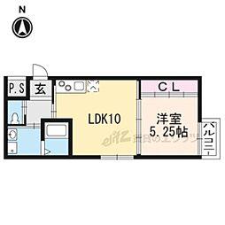 京都市営烏丸線 丸太町駅 徒歩7分の賃貸マンション 3階1LDKの間取り