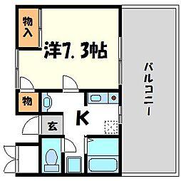 兵庫県西宮市中須佐町の賃貸マンションの間取り