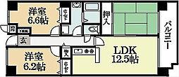 京都府宇治市五ケ庄戸ノ内の賃貸マンションの間取り