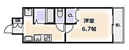ジュネーゼグラン難波ミラージュ[13階]の間取り