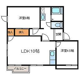 リラハイツB[2階]の間取り