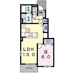ラ・メゾンカメリア北野田 1階1LDKの間取り