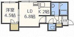 L'est北11条[4階]の間取り