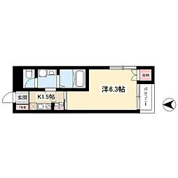 名古屋市営東山線 岩塚駅 徒歩17分の賃貸アパート 2階1Kの間取り