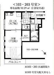 シルクロード原市 デザイナーズ新築アパート 1階1DKの間取り