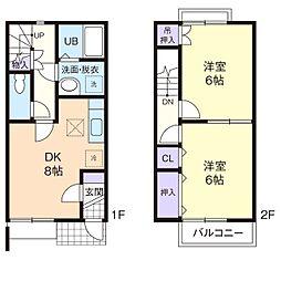 神奈川県秦野市平沢の賃貸アパートの間取り