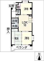 ハイムK2[2階]の間取り