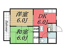 フォレスト・M 2階2DKの間取り