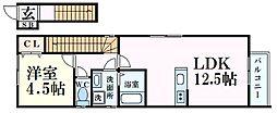 JR東海道・山陽本線 住吉駅 徒歩9分の賃貸アパート 2階1LDKの間取り