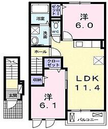 岡山県井原市下出部町の賃貸アパートの間取り