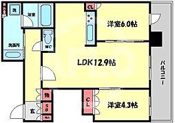 ブランズタワー梅田North(ブランズタワー梅田ノース) 20階2LDKの間取り