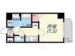阪神本線 西宮駅 徒歩5分の賃貸マンション 7階1Kの間取り